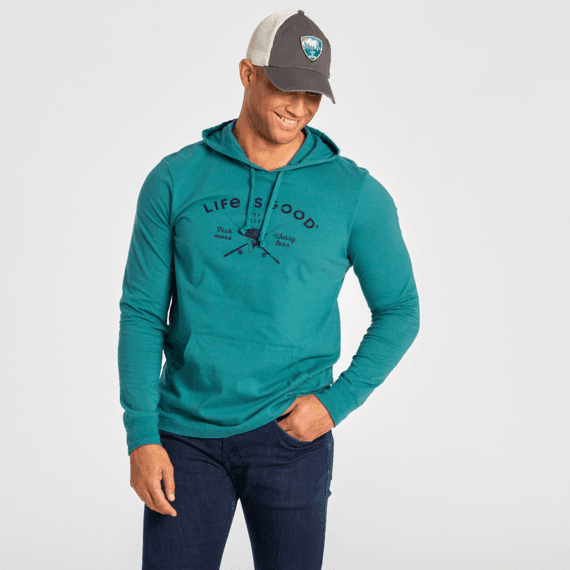 Men's Fish More, Worry Less Long Sleeve Hooded Crusher