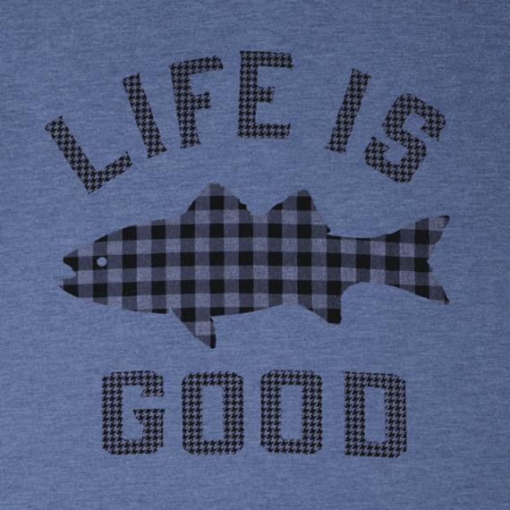 Men's Fish Pattern Life Is Good Cool Tee