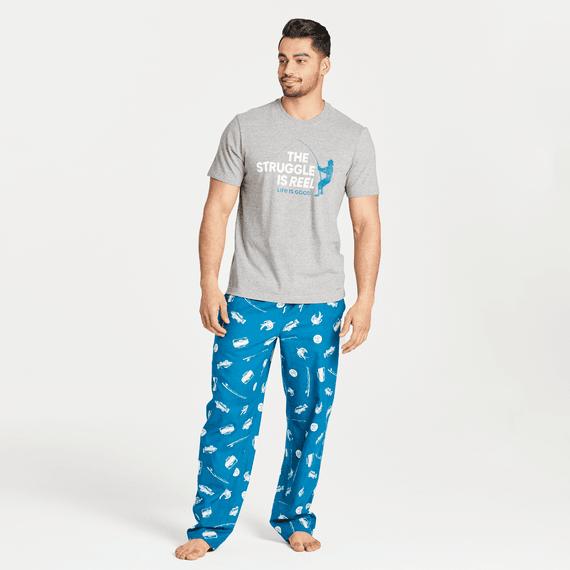 Men's Fishing icon Print Classic Sleep Pant
