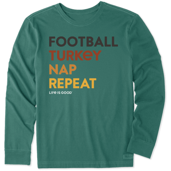 Men's Football, Turkey, Nap Repeat Long Sleeve Crusher Tee