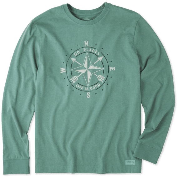 Men's Go Places Compass Long Sleeve Crusher Tee
