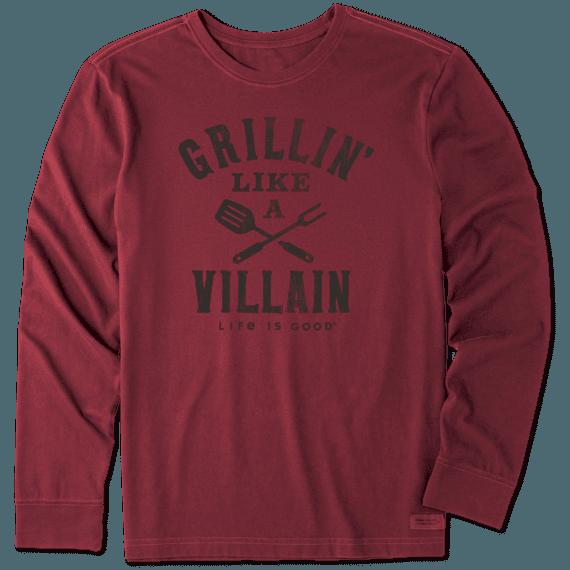 Men's Grillin' Like a Villain Long Sleeve Crusher Tee