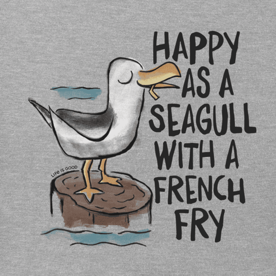 Men's Happy As A Seagull Long Sleeve Crusher Tee