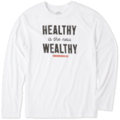 Men's Healthy Is The New Wealthy Long Sleeve Cool Tee