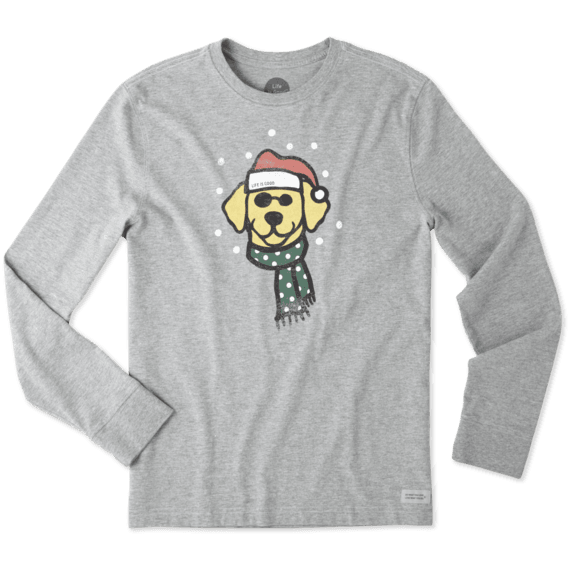 Men's Holiday Dog Long Sleeve Crusher Tee