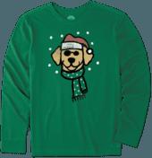 Men's Holiday Dog Long Sleeve Crusher Tee