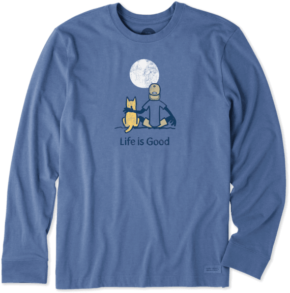 Men's Jake And Rocket Moon Gazing Long Sleeve Crusher Tee