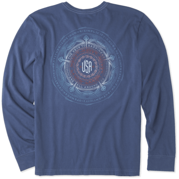 Men's Keys To Happiness USA Long Sleeve Crusher Tee