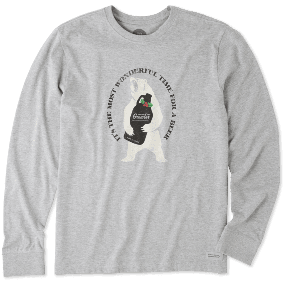 Men's Wonderful Time for a Beer Long Sleeve Crusher Tee