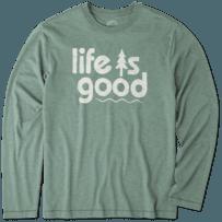 Men's Life Is Good Pine Long Sleeve Cool Tee
