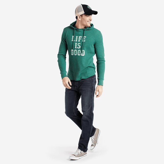 Men's Life Is Good Stacked Hooded Waffle Pullover