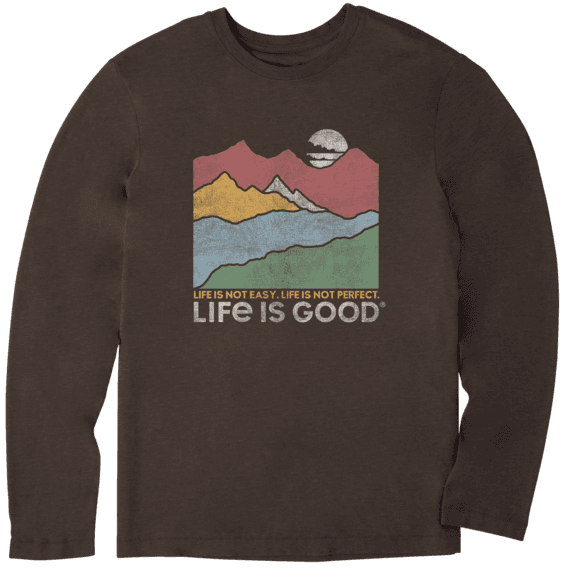 Men's Life Isn't Easy Mountains Long Sleeve Cool Tee