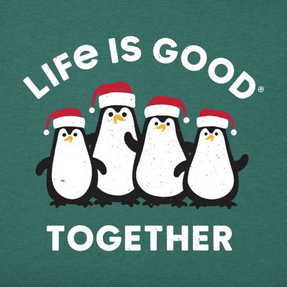 Men's Life is Good Together Penguins Long Sleeve Crusher Tee