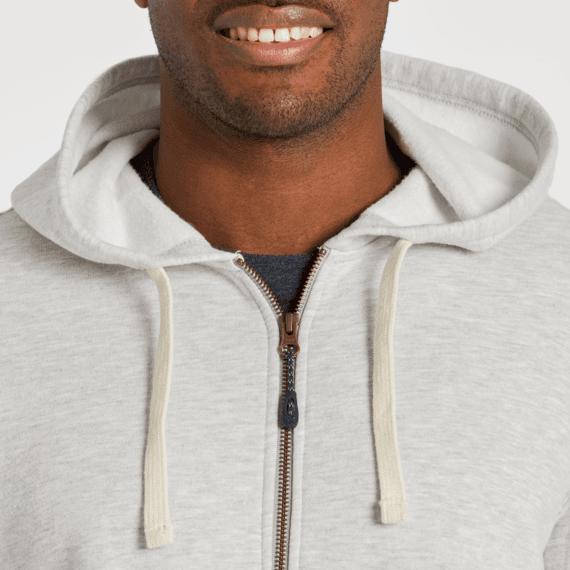 Men's Light Heather Gray Simply True Zip Fleece Hoodie