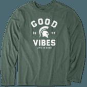 Men's Michigan State Good Vibes Arc Long Sleeve Cool Tee
