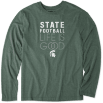 Men's Michigan State Infinity Football Long Sleeve Cool Tee