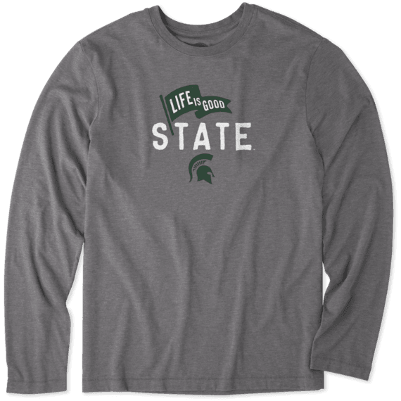 Men's Michigan State Pennant Long Sleeve Cool Tee