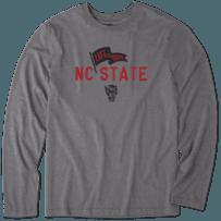 Men's NC State Wolfpack Pennant Long Sleeve Cool Tee