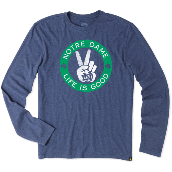 Men's Notre Dame Peace Sign Long Sleeve Cool Tee