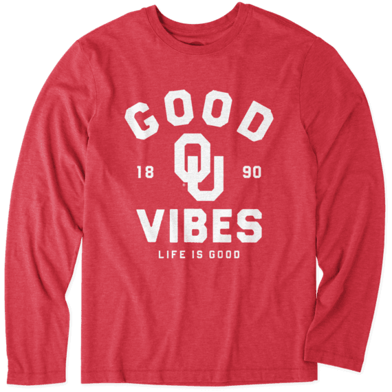 Men's Oklahoma Sooners Good Vibes Arc Long Sleeve Cool Tee