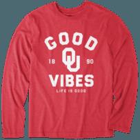 Men's Oklahoma Sooners Good Vibes Arc Long Sleeve Cool Tee