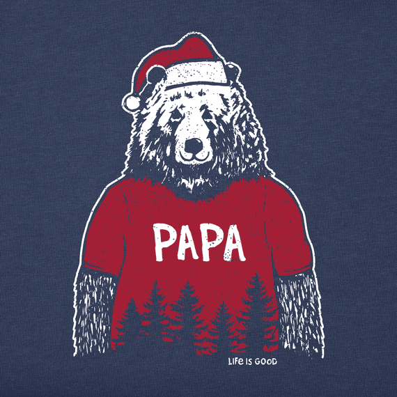 Men's Papa Santa Bear Long Sleeve Crusher Tee