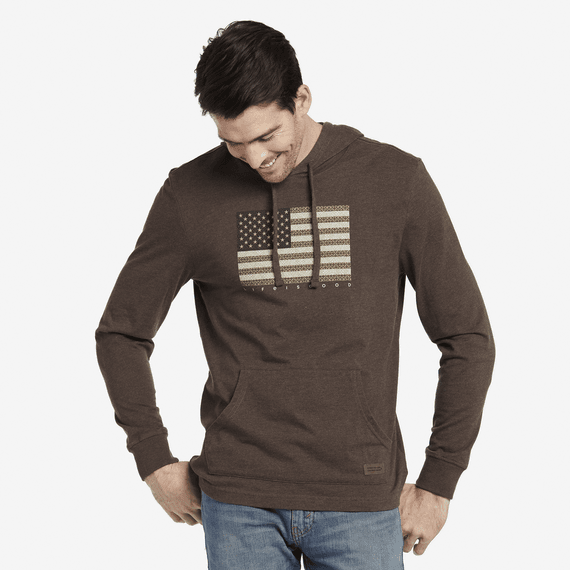Men's Pattern Flag Long Sleeve Hooded Crusher