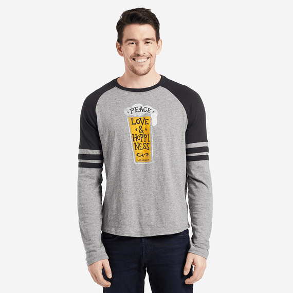 Men's Peace Love Hoppy Vintage Sport Long Sleeve
