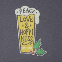 Men's Peace Love Merry Long Sleeve Crusher Tee