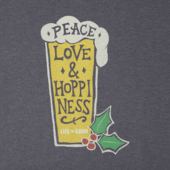 Men's Peace Love Merry Long Sleeve Crusher Tee
