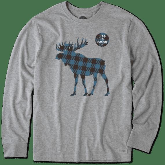 Men's Plaid Moose Long Sleeve Crusher Tee