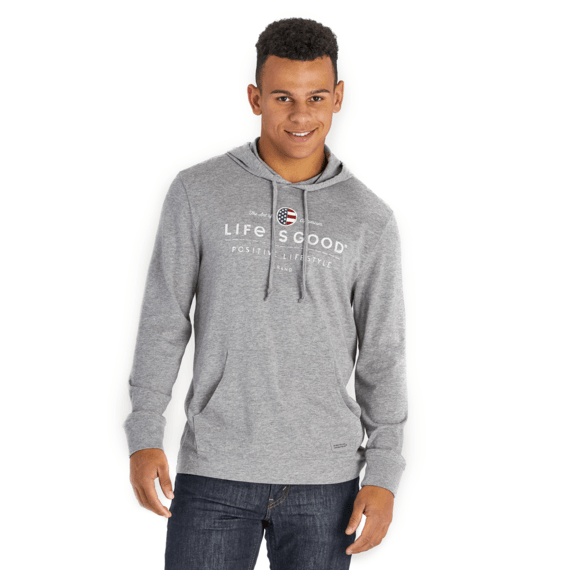Men's Positive Lifestyle Flag Long Sleeve Hooded Crusher
