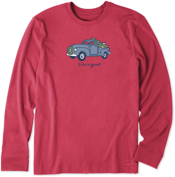 Men's Rocket Truck Holiday Long Sleeve Vintage Crusher Tee
