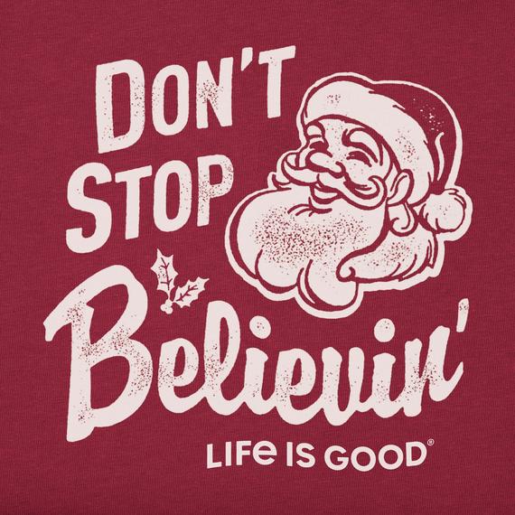 Men's Santa Don't Stop Believin' Long Sleeve Crusher Tee