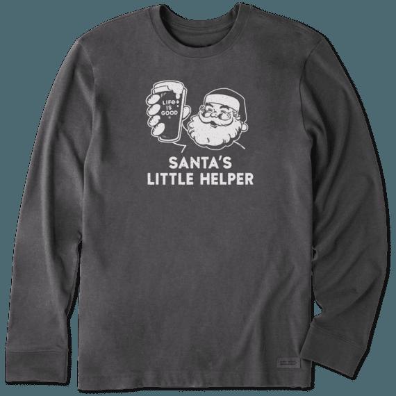Men's Santa's Little Helper Long Sleeve Crusher Tee