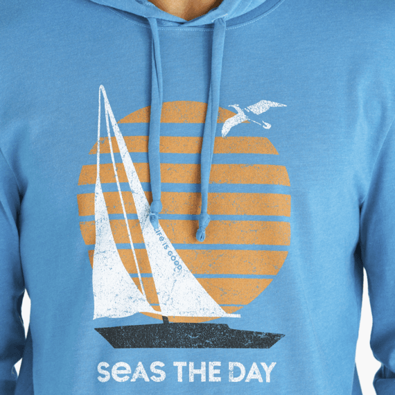 Men's Seas the Day Sailboat Long Sleeve Hooded Crusher