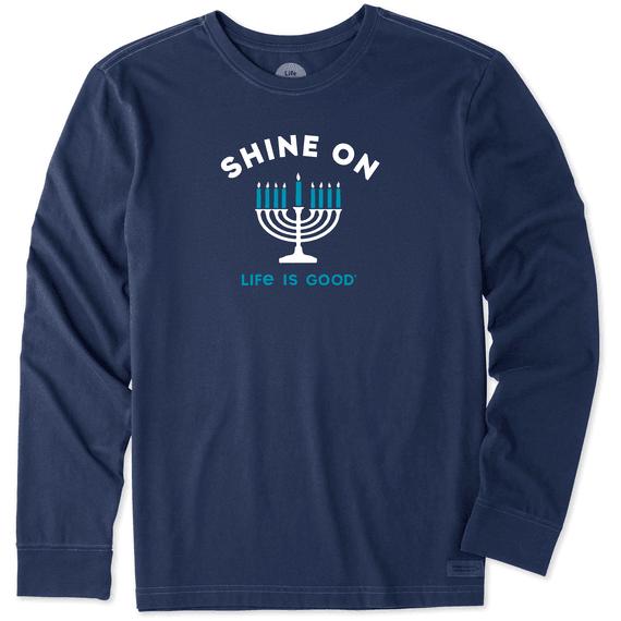 Men's Shine On Menorah Long Sleeve Crusher Tee
