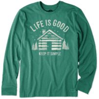 Men's Simple Cabin Long Sleeve Crusher Tee