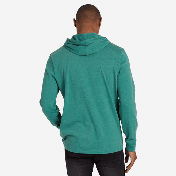 Men's Simple Coin Hooded Long Sleeve Crusher Tee