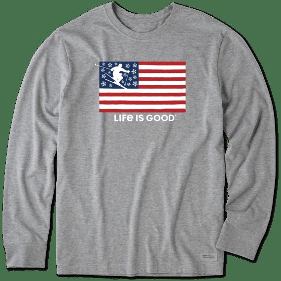 Men's Skier Flag Long Sleeve Crusher Tee