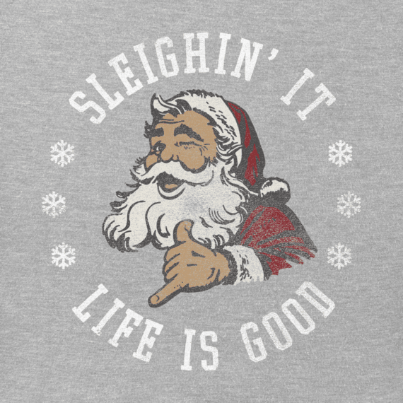 Men's Sleighin It Santa Long Sleeve Crusher Tee