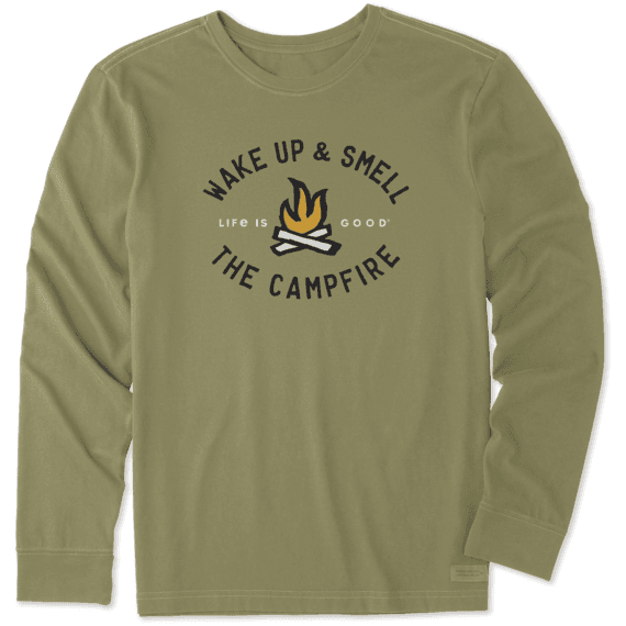 Men's Smell The Campfire Long Sleeve Crusher Tee