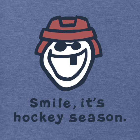 Men's Smile It's Hockey Season Long Sleeve Vintage Crusher Tee