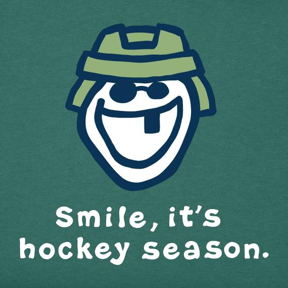Men's Smile, It's Hockey Season Long Sleeve Vintage Crusher Tee