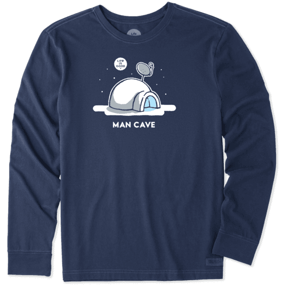 Men's Snow Man Cave Long Sleeve Crusher Tee