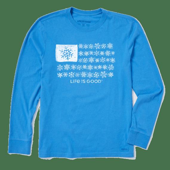 Men's Snowflake Flag Long Sleeve Crusher Tee