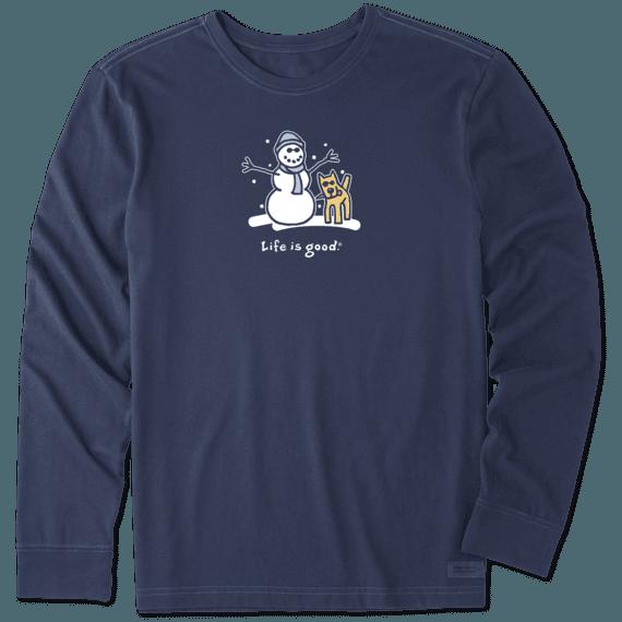 Men's Snowman and Rocket Long Sleeve Vintage Crusher Tee