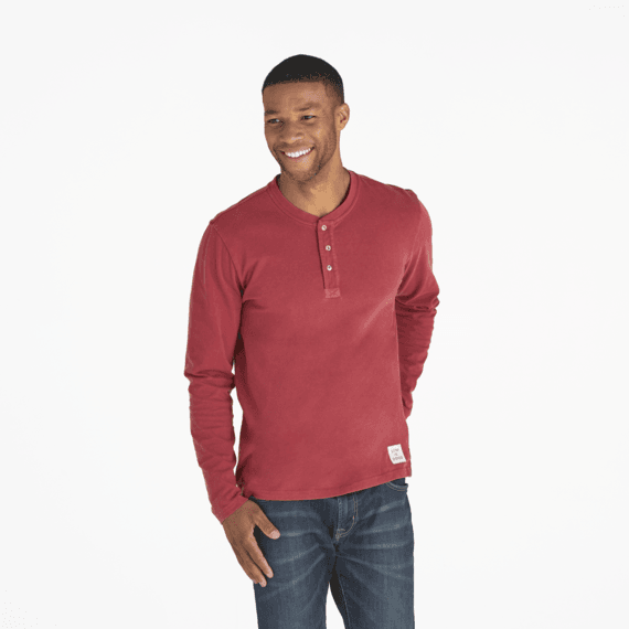Men's Solid Cranberry Red Henley Crusher Tee