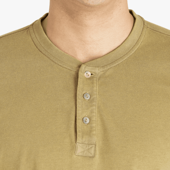 Men's Solid Fatigue Green Henley Crusher Tee