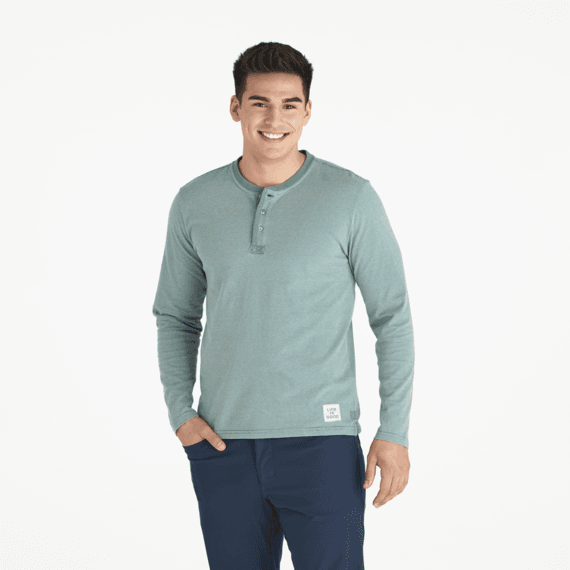 Men's Spruce Green Stripe Henley Crusher Tee